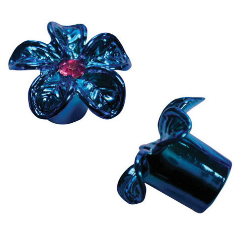 Flower Valve Caps (Schrader )  - Blue