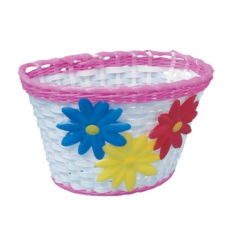 Childrens Basket - White With Flowers