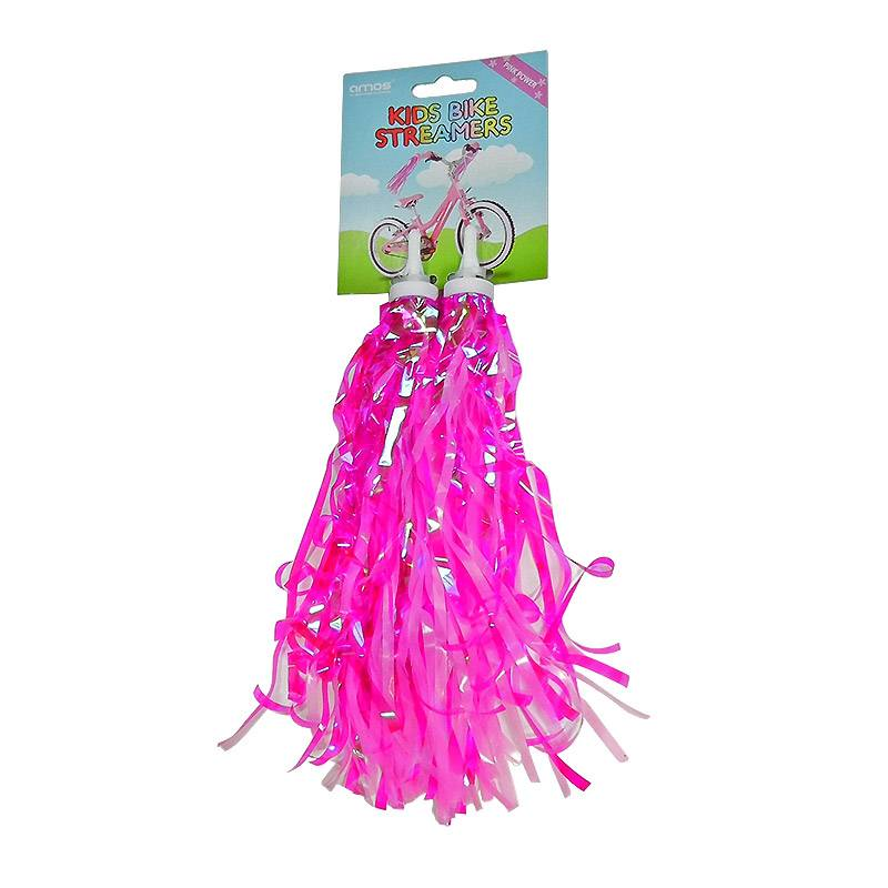 Girls Bicycle Handlebar Streamers (Pink/Silver)